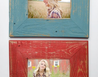 Set of TWO 5x7 Wide Rustic Barnwood Distressed Rustic Picture Frame-Farmhouse Distressed Frame- Poppy & Ocean