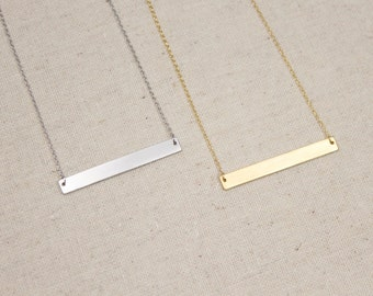 SUMMER SALE Gold or Silver Bar Necklace, Gift for Her, Layering, Minimalist, Dainty, Layering, Layer