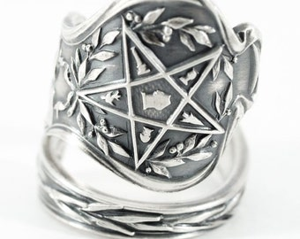 OES Ring, Order of the Eastern Star Masonic, Sterling Silver Spoon Ring, Freemason Ring for Her, Holy Bible, Adjustable Ring Size (5806)