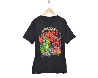 Vintage VAN HALEN 1988 Monsters of Rock Tour Shirt  50/50 Blend Black Crewneck T-Shirt, Made in USA