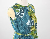 African Print  Girl's  Dress in a blue and lime leaf pattern