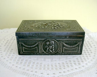 Vintage Ornate Grey Metal Humidor Trinket Jewelry Wood Lined Box Hinged Lid  Classical Style  Design