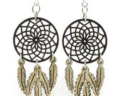 Dreamcatcher with Feathers - Earrings laser Cut from Sustainable Wood Source
