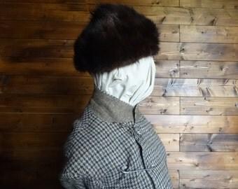 Vintage Swedish brown mink hat cap skullcap woman ladies unisex circa 1940-50's / English Shop