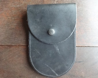 Vintage English Leather Pouch Money Coin Case Carry Holdall Carrier Case circa 1980's / English Shop