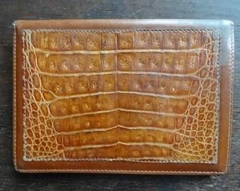 Vintage English Leather and Alligator Skin Wallet Purse Case Money circa 1970-80's / English Shop