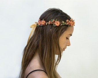 Autumn Flower Crown, Gold Crown, Crown, Flower Crown, Floral Crown, Sienna, Russet Orange, Rose, Autumn Wedding, Rustic, Potter's Clay