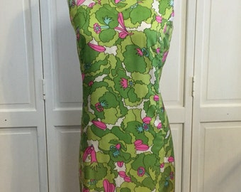 Vintage 60s Handmade Silk Mod Dress Hand beaded Collar M