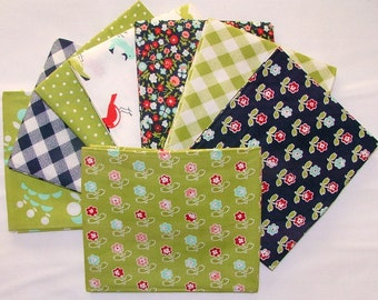Green & Navy Bundle of Vintage Picnic by Bonnin and Camille for Moda
