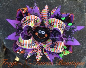 Halloween Rhinestone Spider Hairbow