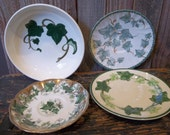 Group of Four Ivy Decorated Pottery Pieces - Bowl and Three Saucers