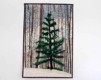 Fiber Art Quilt  Woodland Winter Pine  Art Quilt  Wall Hanging  Landscape Decor Charlie Brown Christmas Tree
