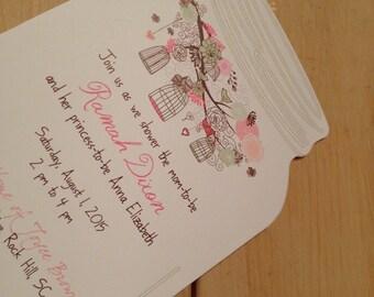 PRINTED Mason Jar cut shower invitation, lot of 25