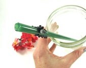 Teal Gecko Lizard on a Jade Glass Drinking Straw- 10 inches long, 9mm Straight Glass Straw