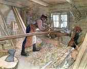 Wordworking Greeting Card - Father and Son Carpenter - Carl Larsson