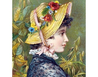 Young Woman Card | Girl in Straw Hat Notecard | Country Girl Vintage Style