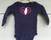Grateful Baby ~ Long Sleeve navy Baby Onesie, 6 months, Grateful Dead, Jerry Garcia, American Beauty, Stealie OOAK