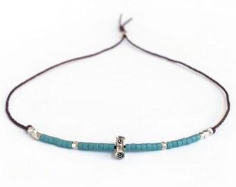 Seed Bead Adjustable Bracelet, Waxed Linen Cord Bracelet, Karen Hill Tribe Bracelet, Waxed Linen Cord, Seed Bead Jewelry, Stackable Bracelet