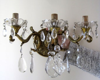 Pair French Bronze Sconces Wall Lights Dripping in Crystals Over 5kgs In Weight Early 20th Century Stunning