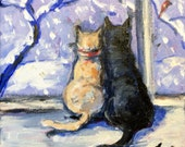 "Cats Painting Let it Snow Painting Original Art 6 x 6"""