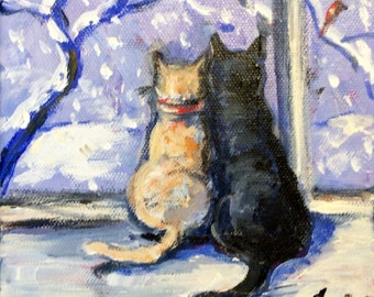 Cats Painting Let it Snow Painting Original Art 6 x 6""