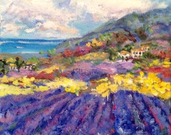 "Provence Landscape Lavender Field Original painting 6 x 6"""