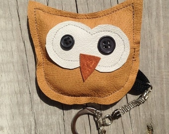 Owl Keychain from Recycled Leather Jackets and Buttons