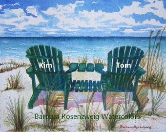 Personalized Gift, Beach Chair Print, Beach Wall Art, Beach Painting, Christmas Holiday Birthday, Beach Watercolor Beach Home Art Rosenzweig
