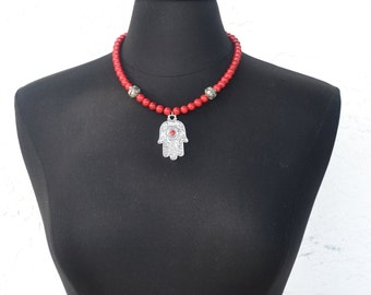 Hamsa Necklace | Hand of Fatima Necklace | Silver Hamsa Pendant | Evil Eye Protection Necklace | Beaded Red Necklace