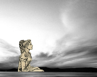 Mix Media Collage; Woman and sky