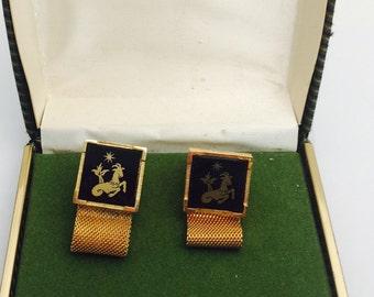 Vintage Cufflinks, gold tone, Black stone, CAPRICORN, Father's Day Sale, item no M005