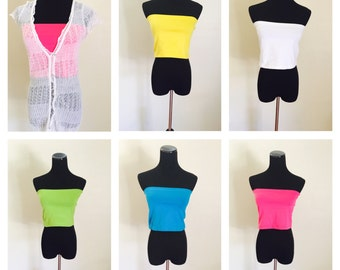 Rainbow Colors Layering Undershirt, TOP or Bottom, Hip T, Stretchy, One Size Solid Stretchy Colors, Versatile Accessory , summer sale