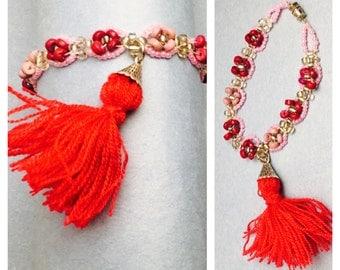 Boho layering Bracelet, Summer Fashion, pink tassel, beaded, Hand Made in The USA, Item No. De059