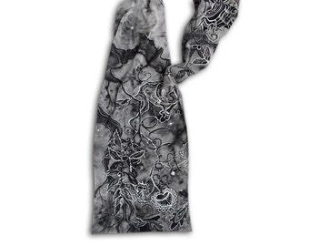 Black & white scarf, elven, Middle Earth, Tolkien, LOTR, Old Forest, fantasy places, tangled, enchanted forest, fantsy style, painted scarf