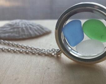 Sea Glass Locket Beach Glass Floating Locket Living Memory Sea Glass Necklace