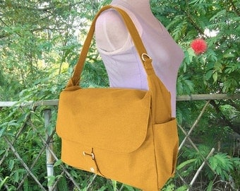 Summer Sale 10% off Golden canvas messenger bag, school bag, travel bag, womens purse, shoulder bags for women