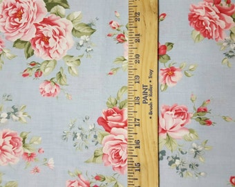 Pink Roses on Light Blue Cotton WOVEN Quilting Cotton