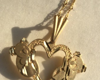 14K yellow gold teddy bear heart pendant with 14K gold chain  VJSE