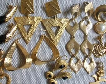Vintage earring lot, pierced earring lot, earring destash, large earrings lot, wearable earring lot, gold tone earring lot. jewellry lot