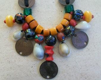 Vintage ethnic necklace, coin necklace,  India bead necklace, statement necklace, tribal necklace, multi color necklace, primitive necklace