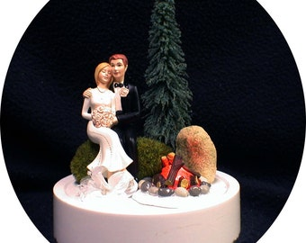 Camping Working Camp Fire Wedding Cake Topper Hunting Country Western Barn Outdoors