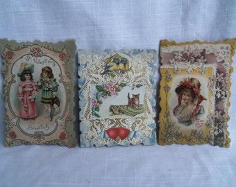 Vintage Victorian Valentines Set of Three Cards