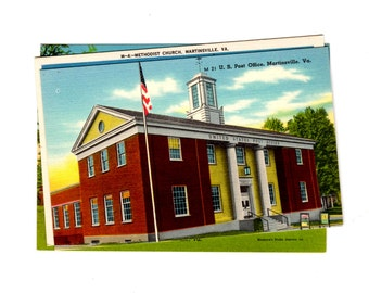 4 Vintage Martinsville Virginia Unused Postcards Blank - Travel Themed Wedding Guestbook