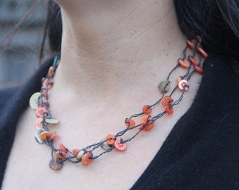 woven necklace // orange blue buttons // triple strand // multi strand // vintage buttons // hemp twine // eco gifts // gifts for her