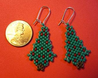 Christmas Fir Tree Bead Earrings