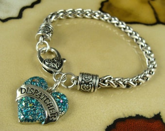 DISPATCHER heart charm on silver chain link Bracelet