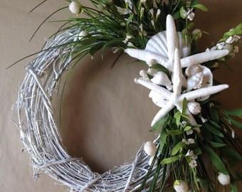 Beach Wreath-White  Wedding-Tropical Wreath-Starfish Decoration-Annie Gray Design-Beach Wedding-White Wreath-Coastal Decor-Shell Wreath