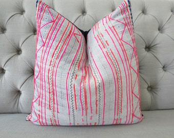 "Hmong Handmade Fabric Cushion Cover Boho Batik Neon Stripe Vintage Ethnic Tribal 20"" x 20"" Pillow"