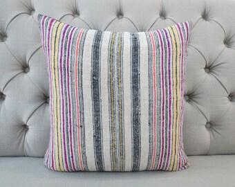 "18""x18"" Vintage Hmong Handwoven Hemp Fabric-vintage Homespun hemp, Scatter cushions and pillows,"