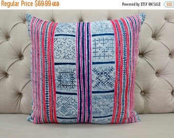 ON SALE, Vintage Batik Hmong Pillow Cover, Indigo Cotton Cushion Cover, Tribal Throw Pillow Case, Hill Tribe Ethnic Pillow Case